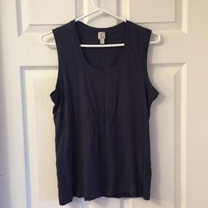 Tristan Blue Tank Top with Front Rouching